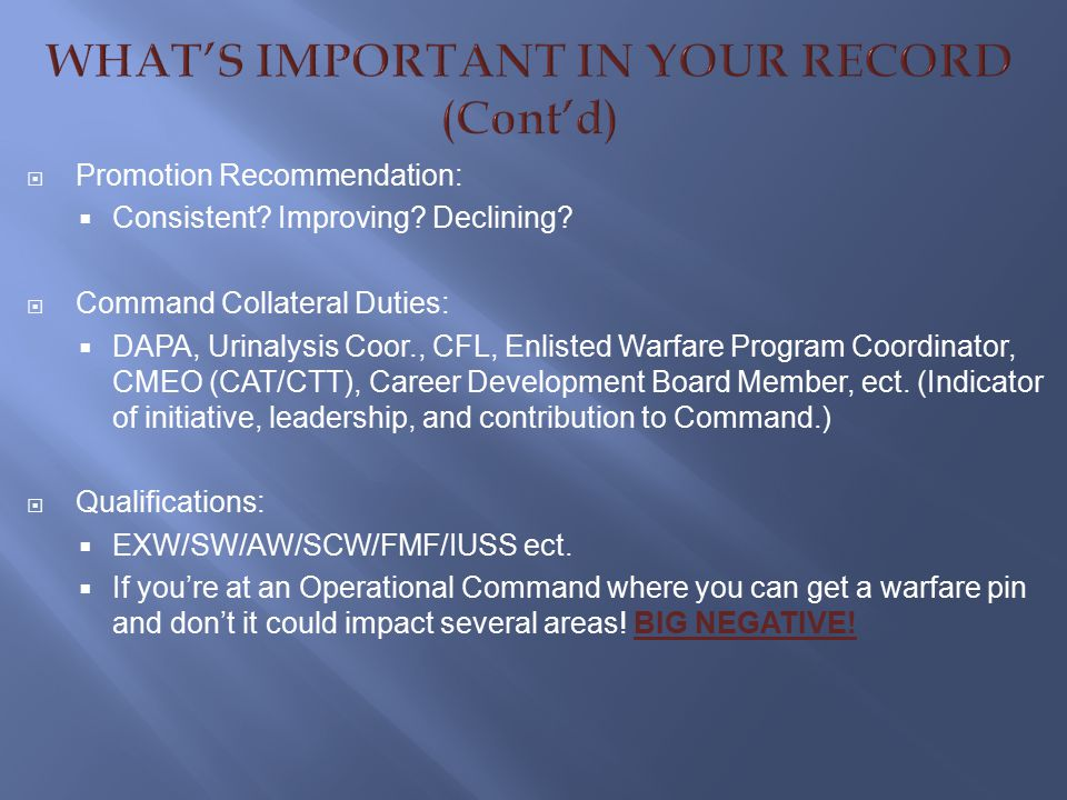WHAT'S IMPORTANT IN YOUR RECORD (Cont'd)