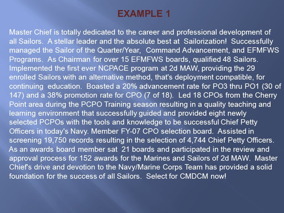 CHIEF PETTY OFFICER SELECTION BOARD PROCESS - ppt download