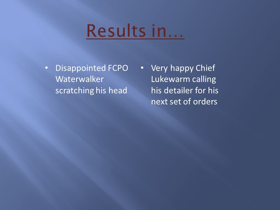 Results in… Disappointed FCPO Waterwalker scratching his head