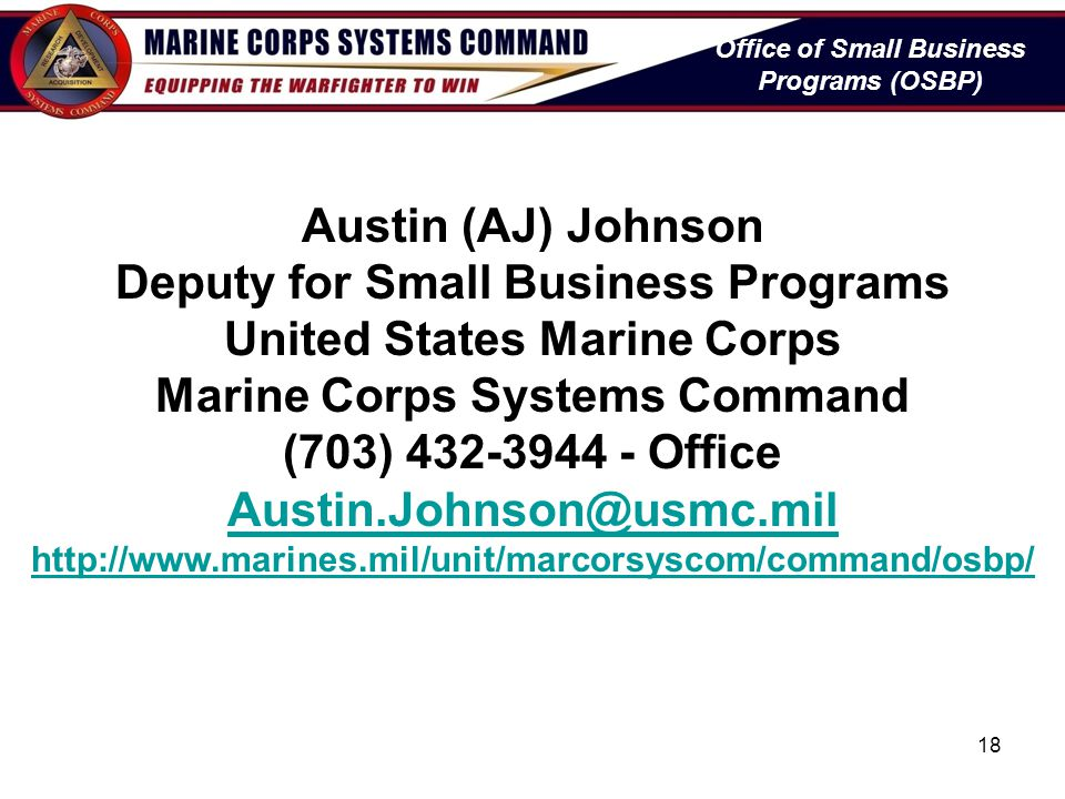 Deputy for Small Business Programs United States Marine Corps