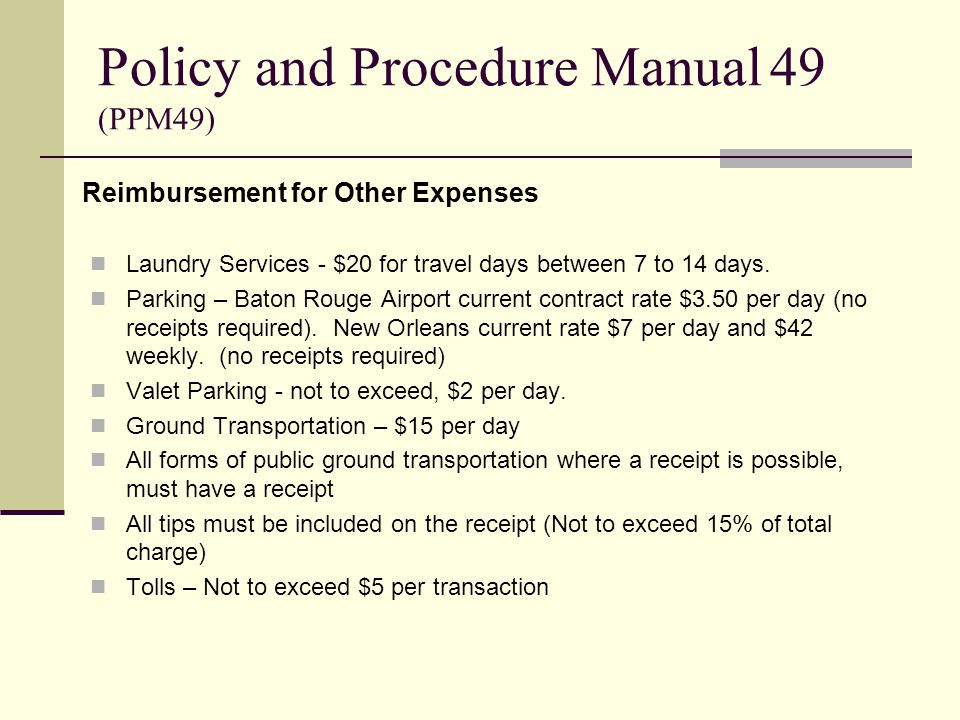 Reimbursement for Other Expenses