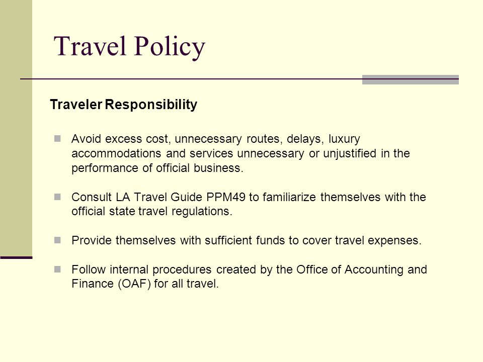 Travel Policy Traveler Responsibility