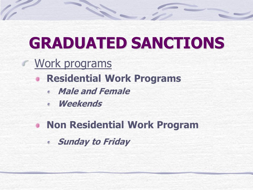 GRADUATED SANCTIONS Work programs Residential Work Programs