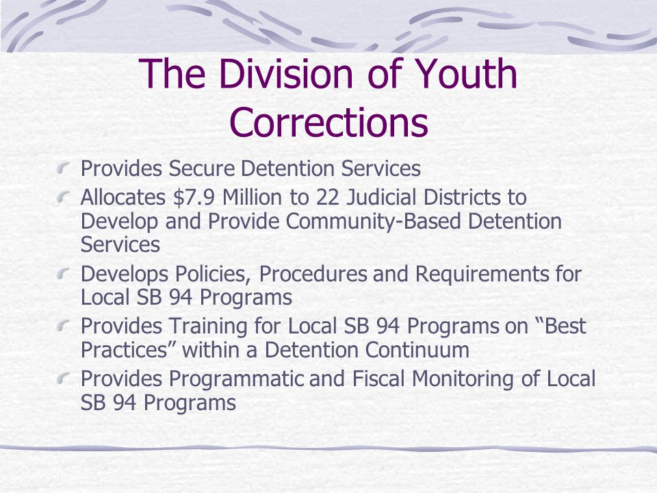 The Division of Youth Corrections