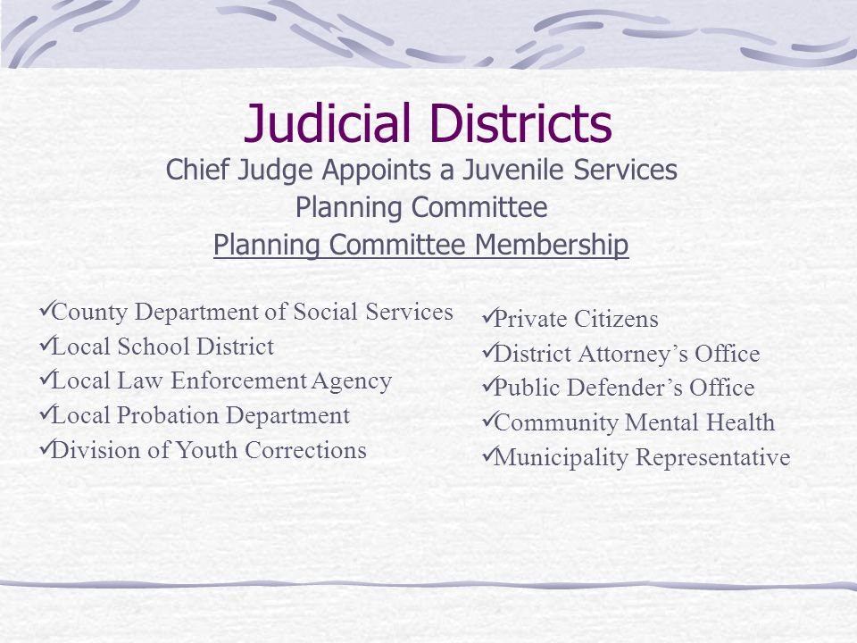 Judicial Districts Chief Judge Appoints a Juvenile Services