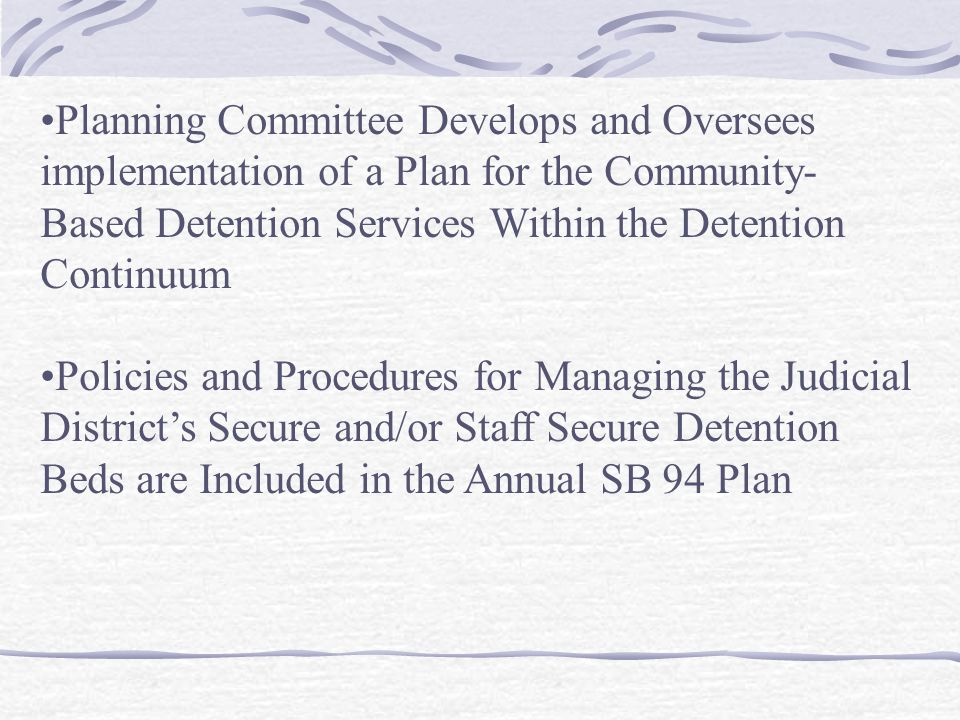Planning Committee Develops and Oversees implementation of a Plan for the Community-Based Detention Services Within the Detention Continuum