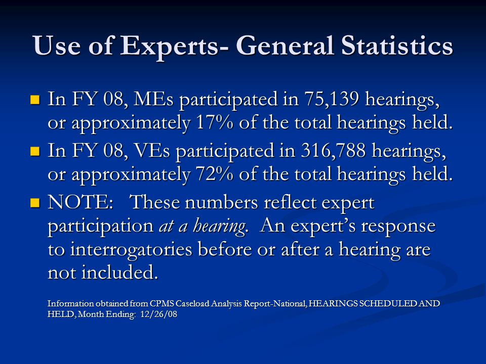 Use of Experts- General Statistics