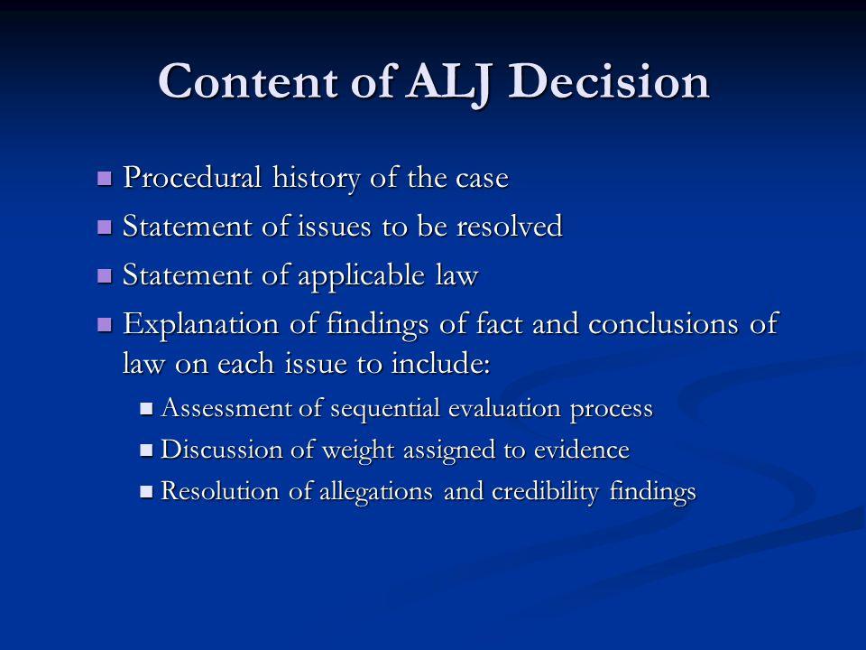 Content of ALJ Decision