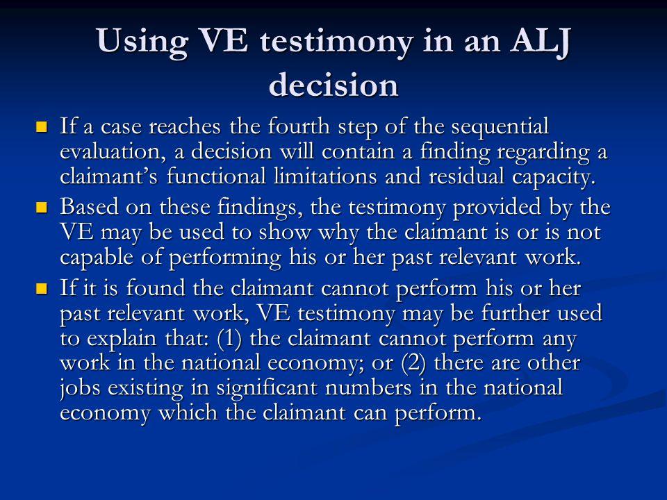 Using VE testimony in an ALJ decision