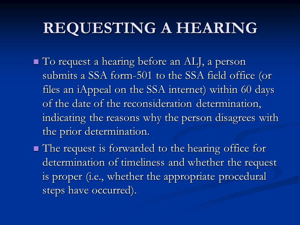 REQUESTING A HEARING