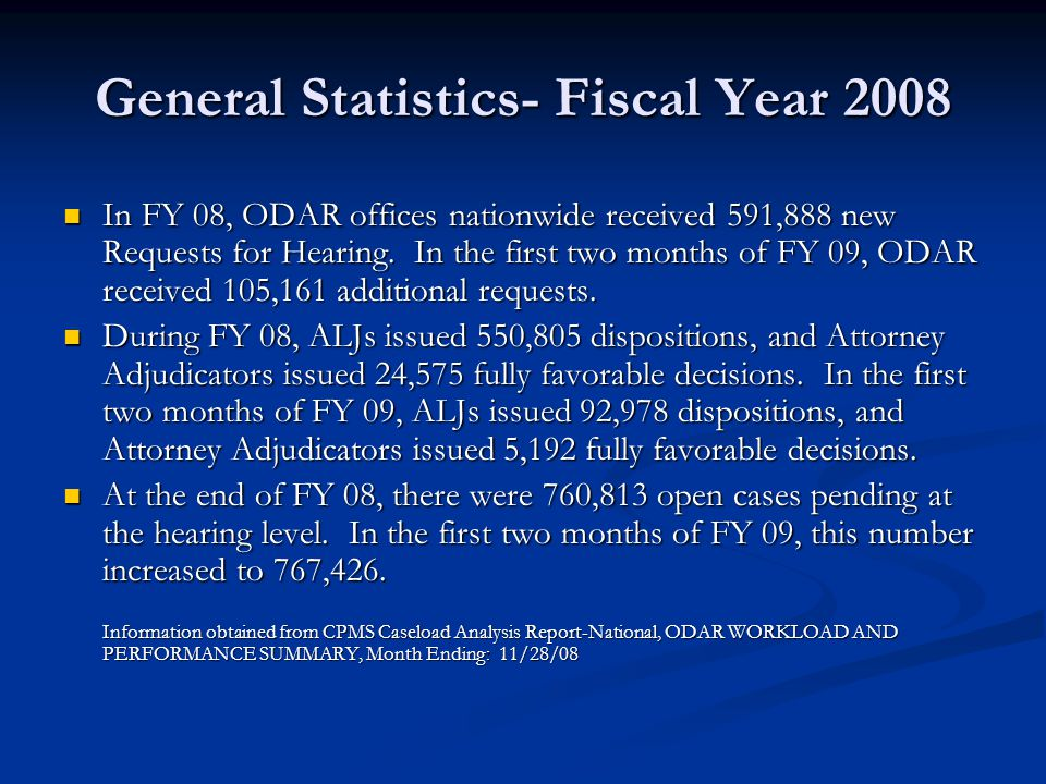 General Statistics- Fiscal Year 2008