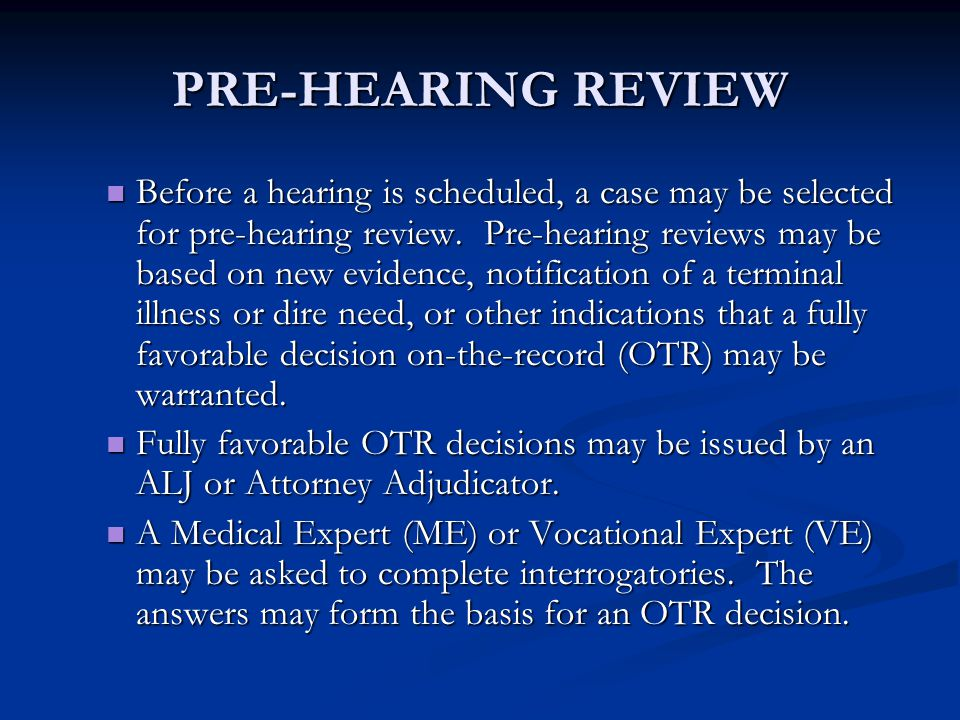 PRE-HEARING REVIEW