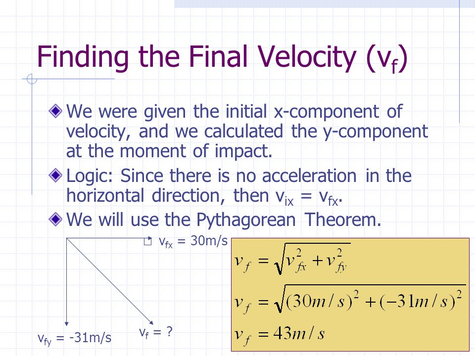 Finding the Final Velocity (vf)