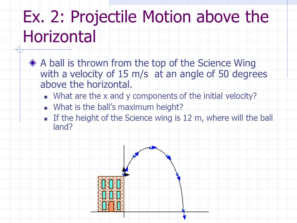 Ex. 2: Projectile Motion above the Horizontal