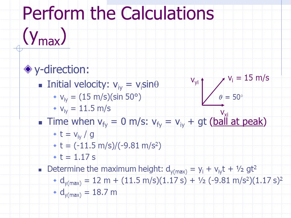 Perform the Calculations (ymax)