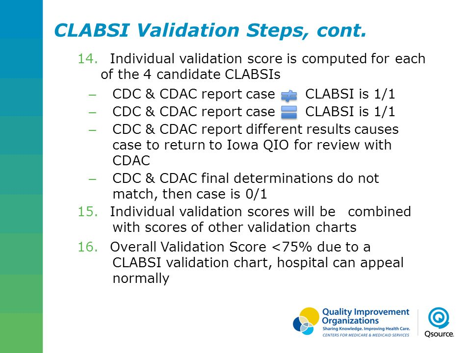 CLABSI Validation Steps, cont.