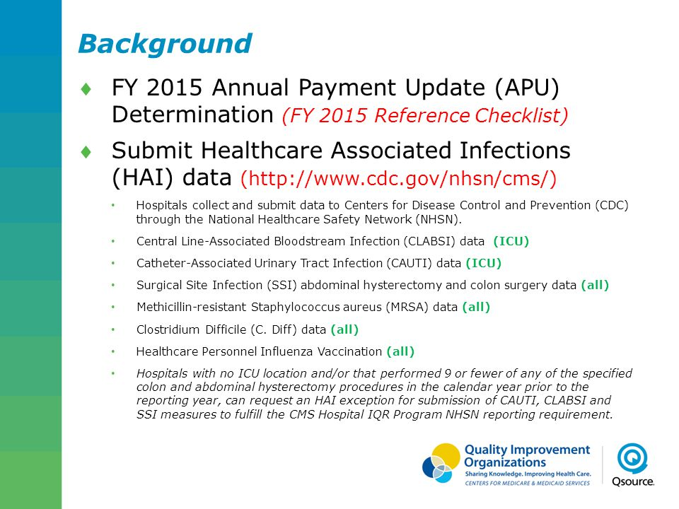 Background FY 2015 Annual Payment Update (APU) Determination (FY 2015 Reference Checklist)