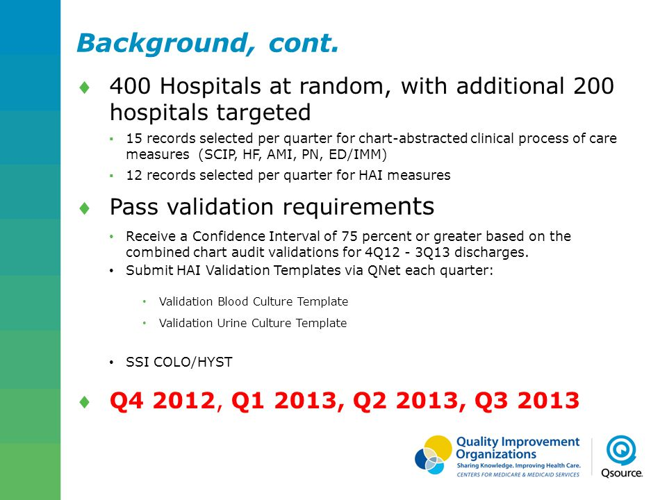 Background, cont. 400 Hospitals at random, with additional 200 hospitals targeted.