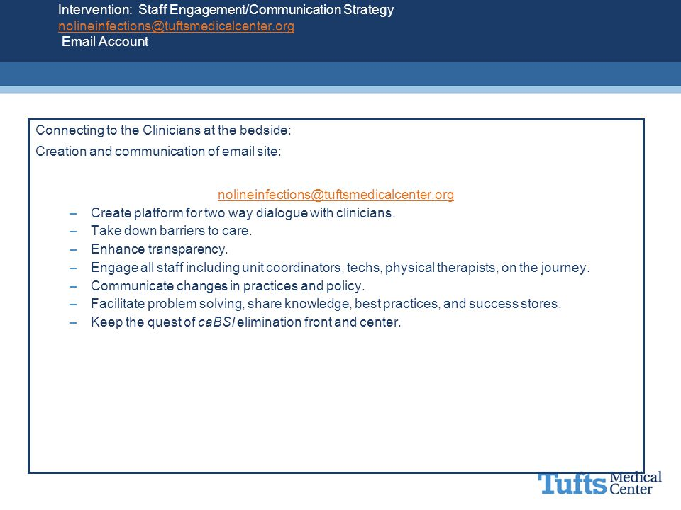 Intervention: Staff Engagement/Communication Strategy nolineinfections@tuftsmedicalcenter.org Email Account