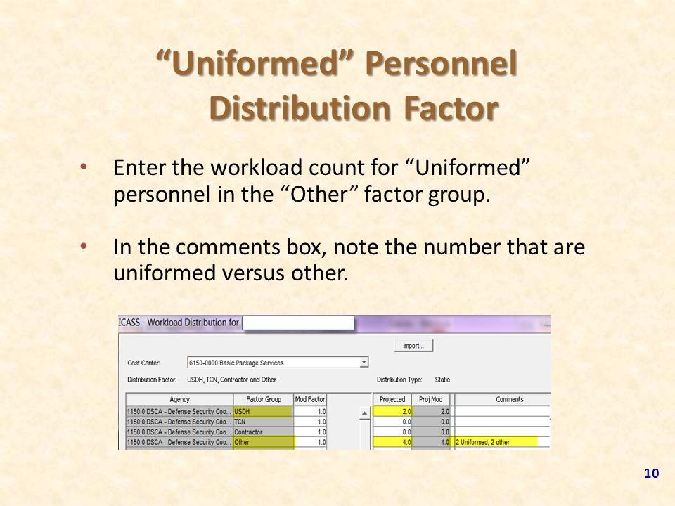 Uniformed Personnel Distribution Factor