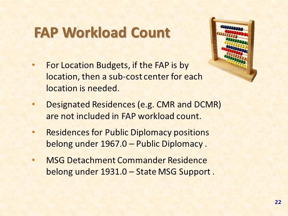 FAP Workload Count For Location Budgets, if the FAP is by location, then a sub-cost center for each location is needed.