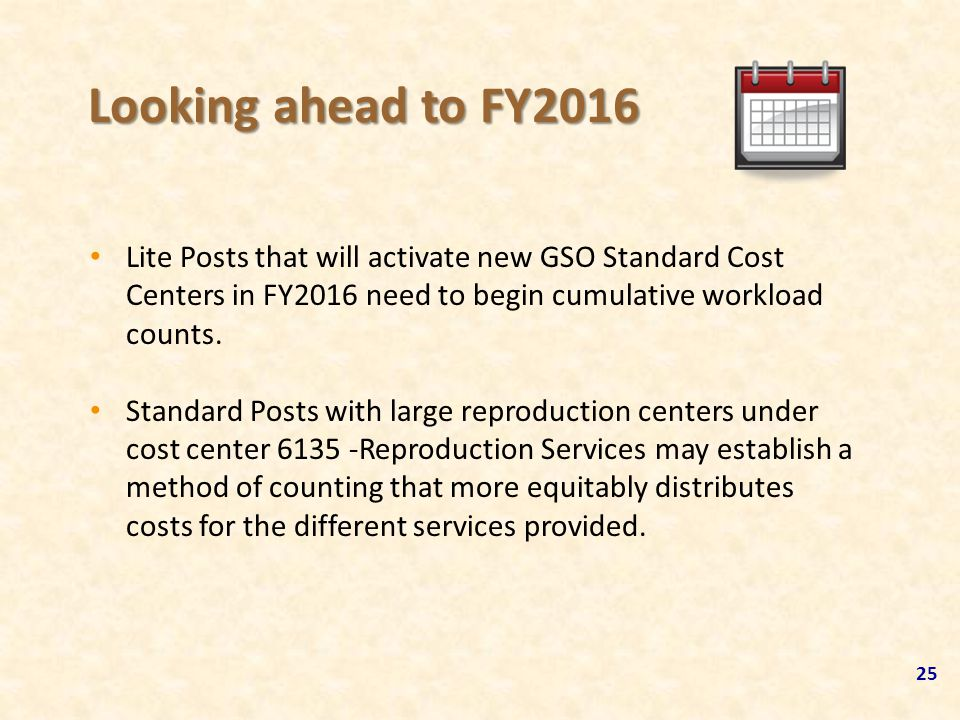 Looking ahead to FY2016 Lite Posts that will activate new GSO Standard Cost Centers in FY2016 need to begin cumulative workload counts.