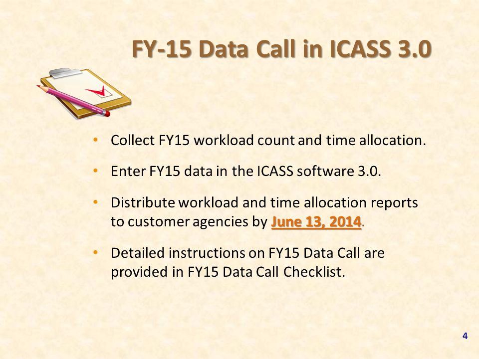 FY-15 Data Call in ICASS 3.0 Collect FY15 workload count and time allocation. Enter FY15 data in the ICASS software 3.0.