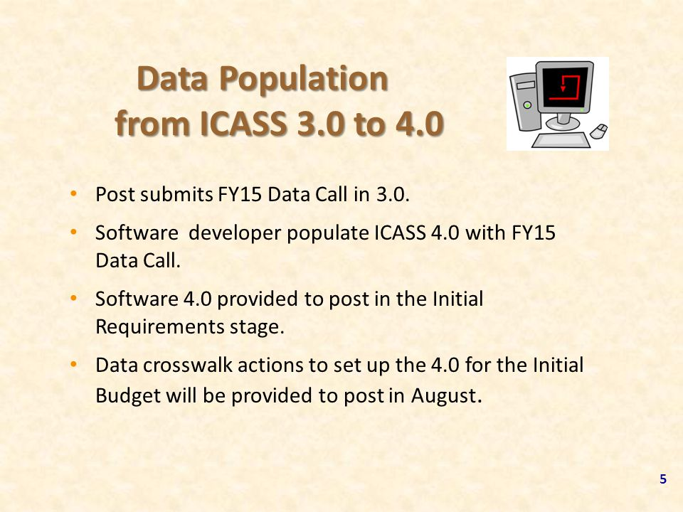Data Population from ICASS 3.0 to 4.0