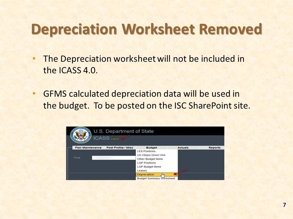 Depreciation Worksheet Removed