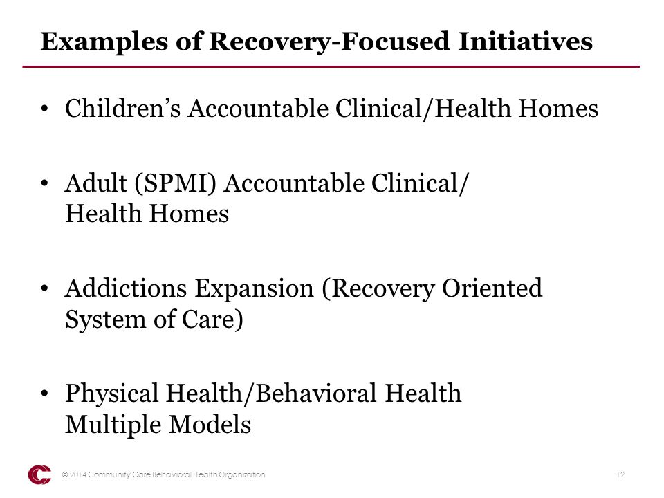Examples of Recovery-Focused Initiatives