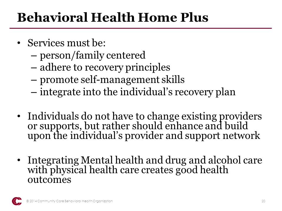 Behavioral Health Home Plus