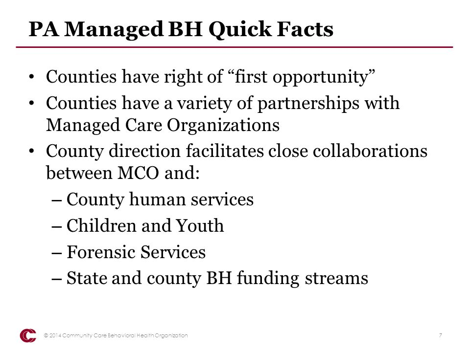 PA Managed BH Quick Facts