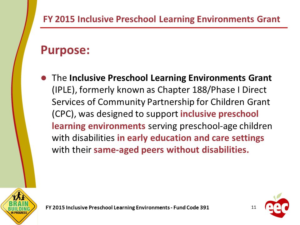 FY 2015 Inclusive Preschool Learning Environments Grant