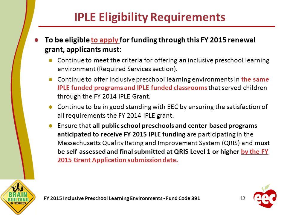 IPLE Eligibility Requirements