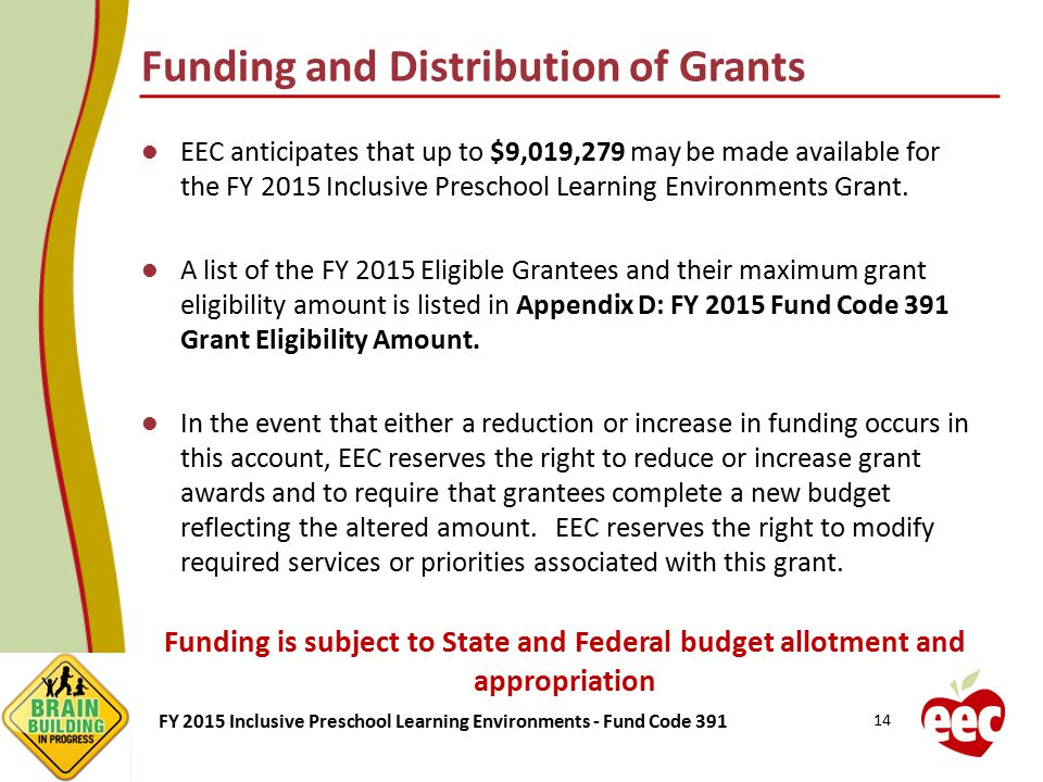 Funding and Distribution of Grants