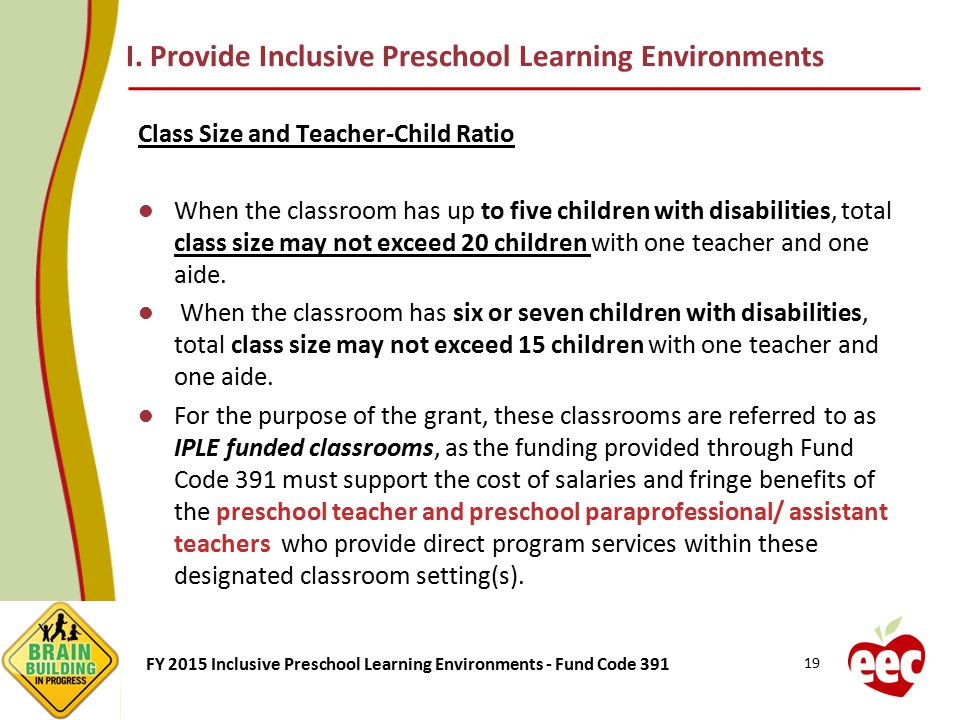 I. Provide Inclusive Preschool Learning Environments