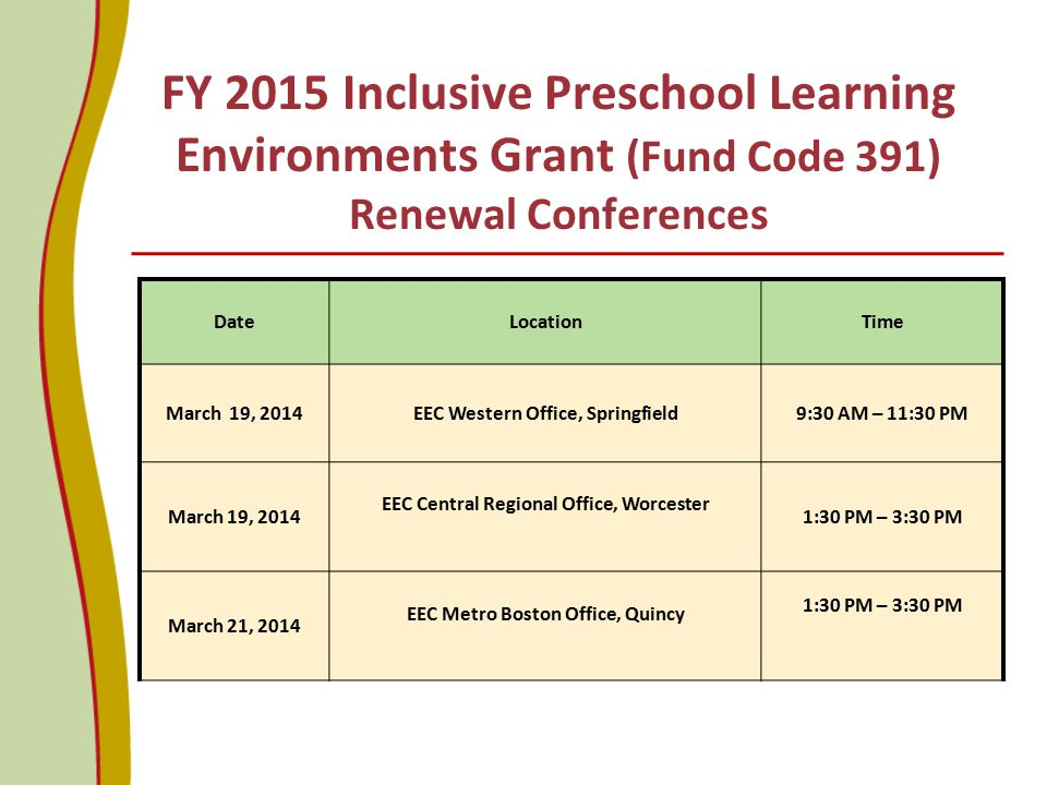 FY 2015 Inclusive Preschool Learning Environments Grant (Fund Code 391) Renewal Conferences
