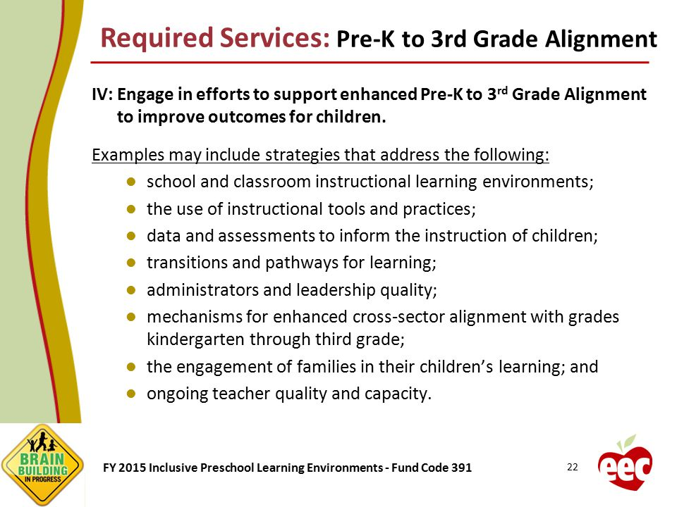 Required Services: Pre-K to 3rd Grade Alignment