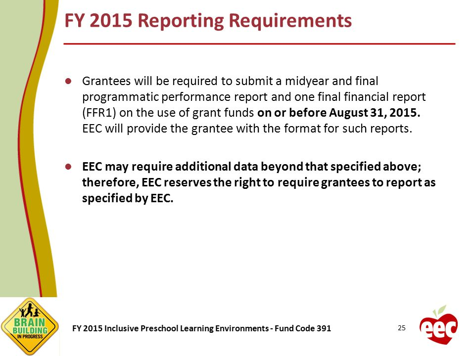 FY 2015 Reporting Requirements