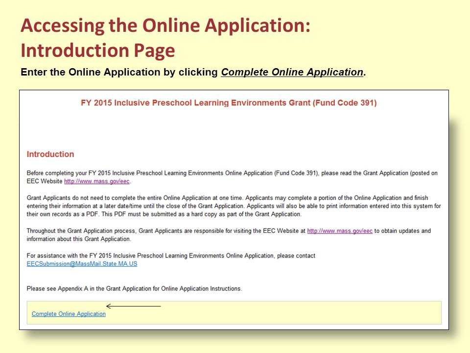 Accessing the Online Application: Introduction Page
