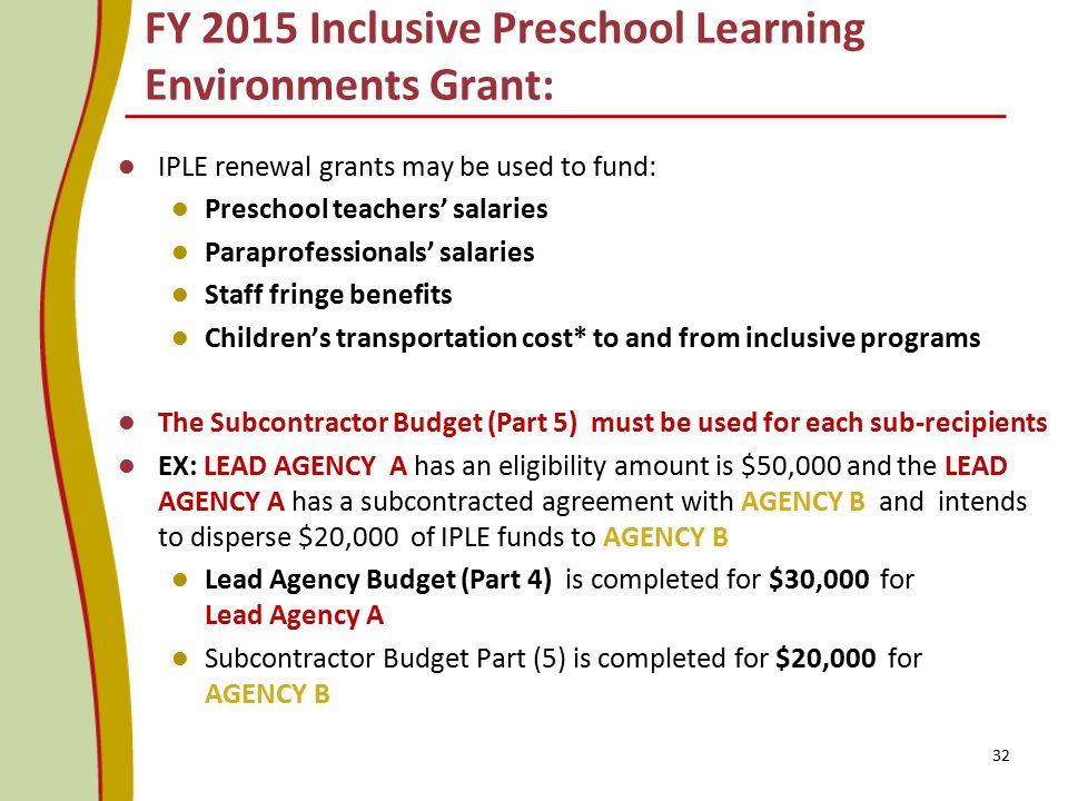 FY 2015 Inclusive Preschool Learning Environments Grant:
