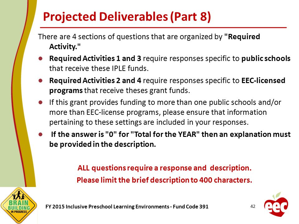 Projected Deliverables (Part 8)