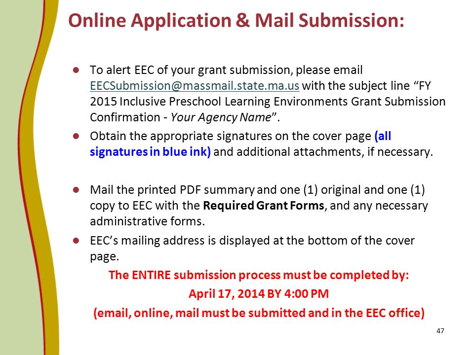 Online Application & Mail Submission: