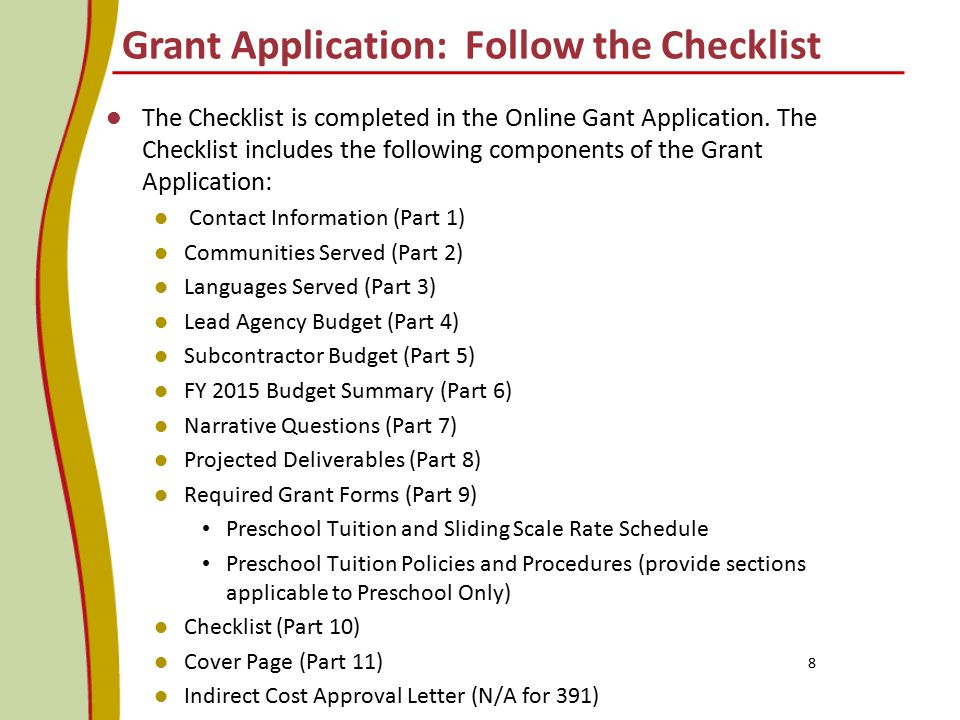 Grant Application: Follow the Checklist