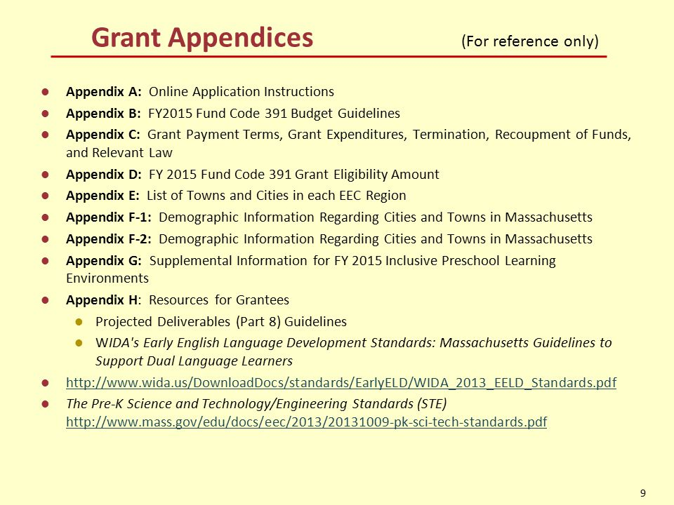 Grant Appendices (For reference only)