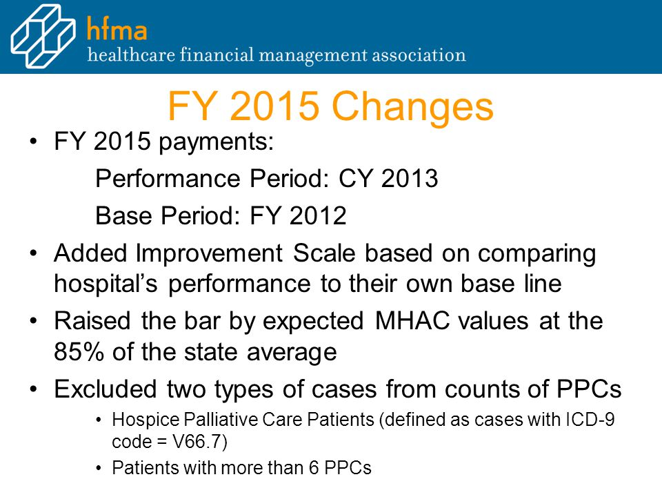 FY 2015 Changes FY 2015 payments: Performance Period: CY 2013