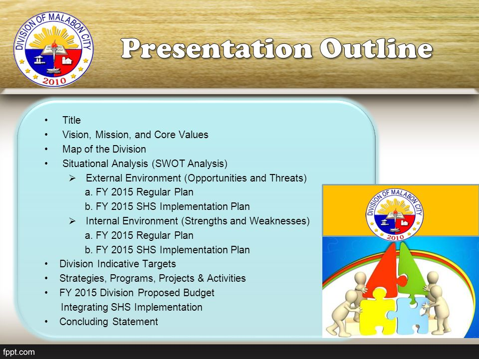 Presentation Outline Title Vision, Mission, and Core Values