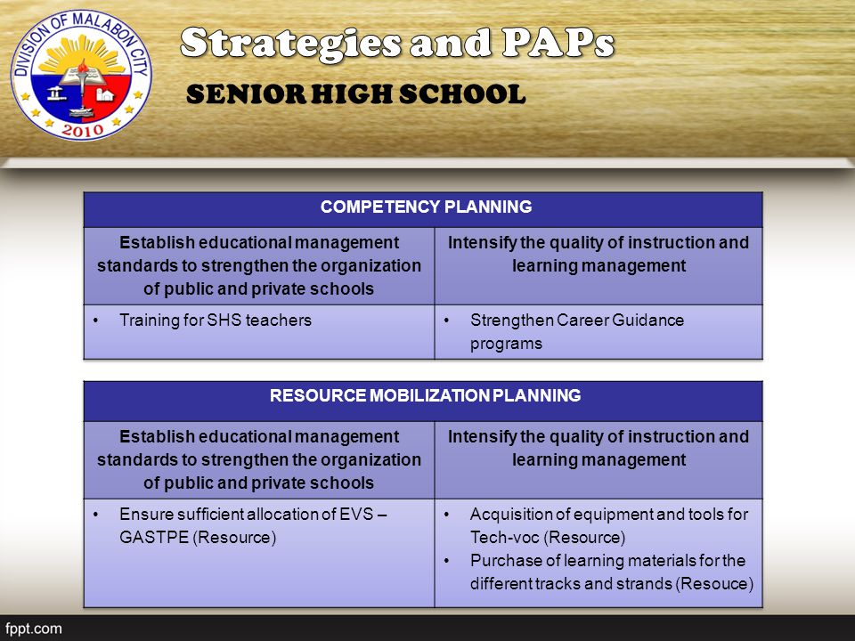 Strategies and PAPs SENIOR HIGH SCHOOL COMPETENCY PLANNING