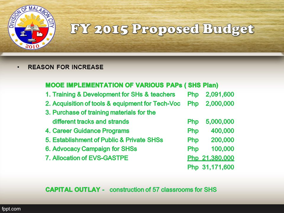 FY 2015 Proposed Budget REASON FOR INCREASE