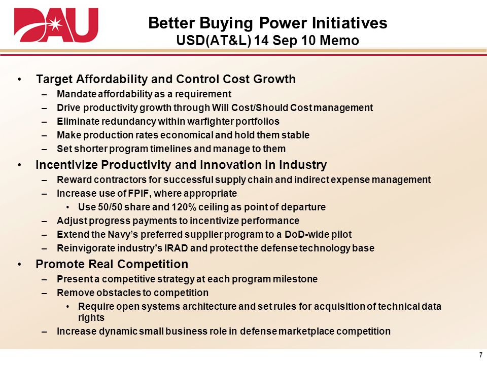 Better Buying Power Initiatives USD(AT&L) 14 Sep 10 Memo